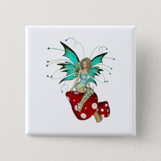 Teal Pixie & Mushrooms 3D Button