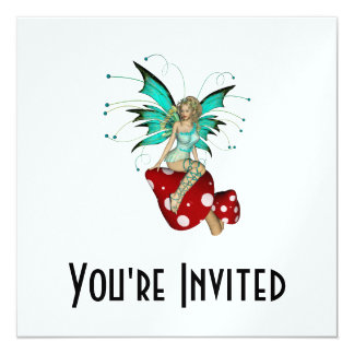 Teal Pixie & Mushrooms 3D Card
