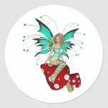 Teal Pixie & Mushrooms 3D Classic Round Sticker