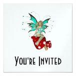 "Teal Pixie & Mushrooms 3D 5.25"" Square Invitation Card"