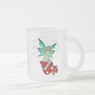 Teal Pixie & Mushrooms 3D 10 Oz Frosted Glass Coffee Mug