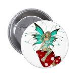 Teal Pixie & Mushrooms 3D Pinback Button