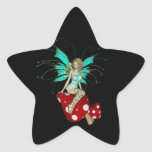 Teal Pixie & Mushrooms 3D Round Stickers