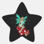 Teal Pixie & Mushrooms 3D Star Sticker