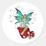 Teal Pixie & Mushrooms 3D Sticker