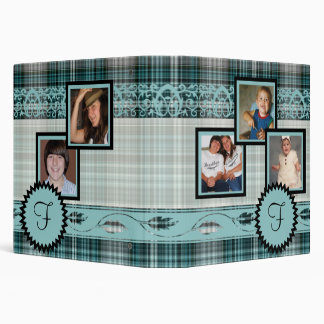 Teal Plaid Family Photograph Monogram Album 3 Ring Binder