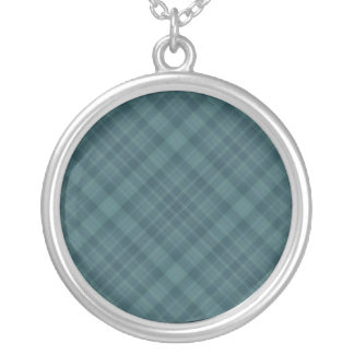 teal plaid silver plated necklace