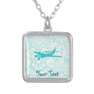 Teal Plane Silver Plated Necklace