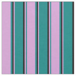 [ Thumbnail: Teal, Plum & Black Lined/Striped Pattern Fabric ]