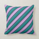 [ Thumbnail: Teal, Plum & Black Lined/Striped Pattern Pillow ]