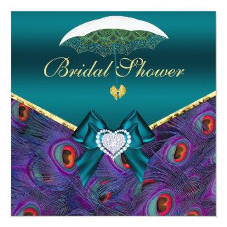 "Teal Plum Peacock Bridal Shower Invite 5.25"" Square Invitation Card"