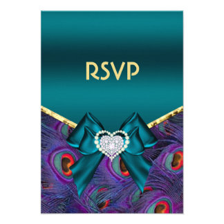 Teal Plum Peacock RSVP Personalized Invitation