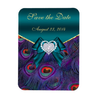 Teal Plum Peacock Save the Date Rectangular Magnets