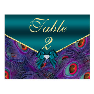 Teal Plum Peacock Table Number Card Postcards