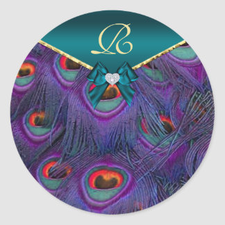 Teal Plum Peacock Wedding Gift Seal Classic Round Sticker