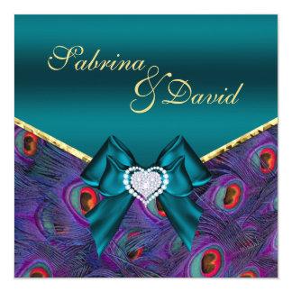 "Teal Plum Peacock Wedding Invitation 5.25"" Square Invitation Card"