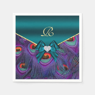 Teal Plum Peacock Wedding Paper Party Napkins