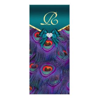 Teal Plum Peacock Wedding Program Rack Card