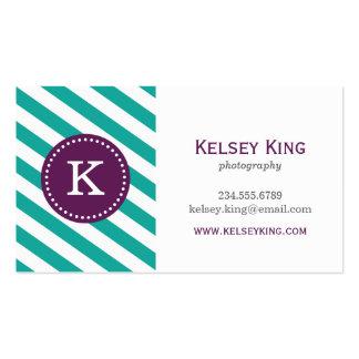 Teal & Plum Purple Chevron Stripes Monogram Business Card