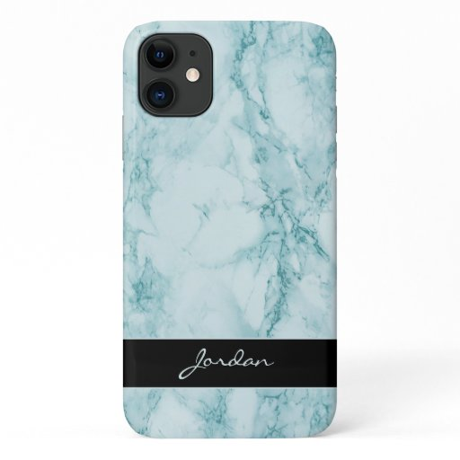 Teal Polished Marble Stone with Name iPhone 11 Case