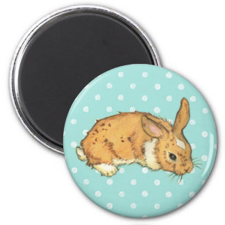 Teal Polka Dot bunny 2 Inch Round Magnet