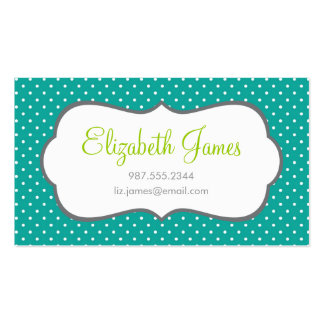 Teal Polka Dot Double-Sided Standard Business Cards (Pack Of 100)