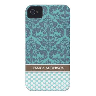 Teal Polka Dot Damask Pattern iPhone 4 Case-Mate