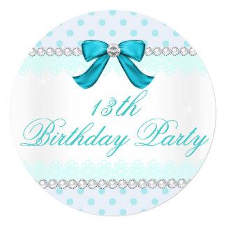 Teal polka dot, Girls 13th birthday party Card