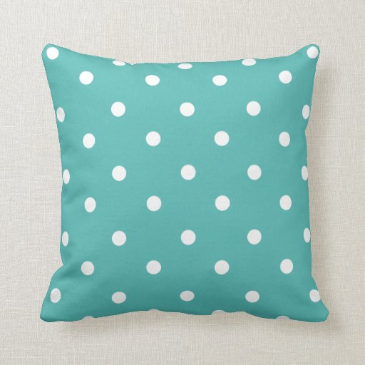 Teal Polka Dot Home Decor Throw Pillow Zazzle