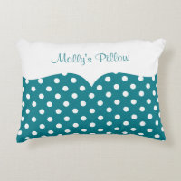 Teal Polka Dot Monogram Decorative Pillow