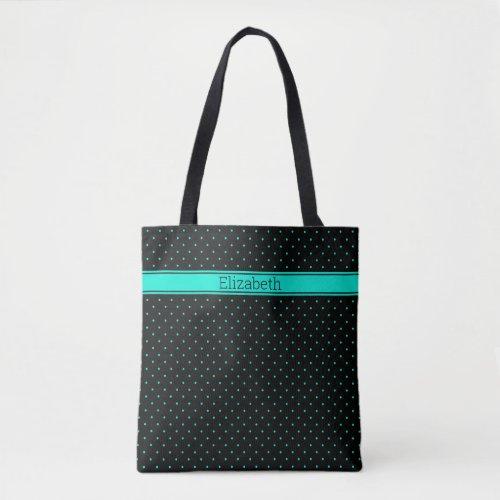 Teal Polka Dot Pattern on Black Custom Name Text Tote Bag