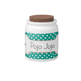 Teal Polka Dot Pet Treat Jar Candy Jar