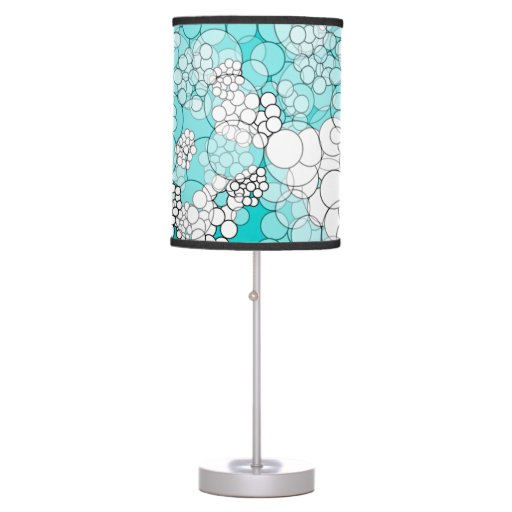 Teal Polka Dots Bubble Table Lamp
