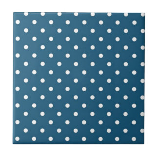Teal Polka Dots Ceramic Tile