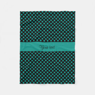 Teal Polka Dots Fleece Blanket