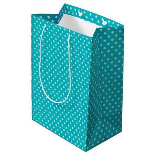 Teal Polka Dots Pattern Medium Gift Bag