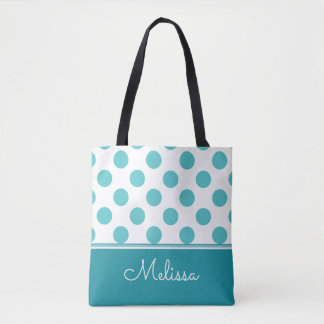 Teal Polka Dots | Personalized Tote Bag