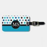 Teal Polka Dots Stripes Monogram Tags For Bags