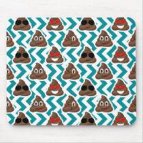 Teal Poop Emoji Pattern Mouse Pad