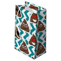 Teal Poop Emoji Pattern Small Gift Bag