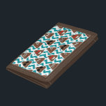 """Teal Poop Emoji Pattern Tri-fold Wallet<br><div class=""""desc"""">What could be better than combining fun teal zig zagged lines with all the different crazy poop emojis!?</div>"""