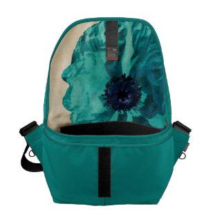 Teal Poppy Peacock Messenger Bag