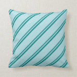 [ Thumbnail: Teal & Powder Blue Colored Lines/Stripes Pattern Throw Pillow ]