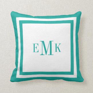 Teal Preppy Ribbon Dots Custom Monogram Throw Pillows