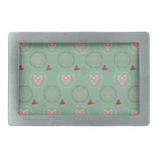 Teal Primitive Country Style Gingham Hearts Belt Buckle