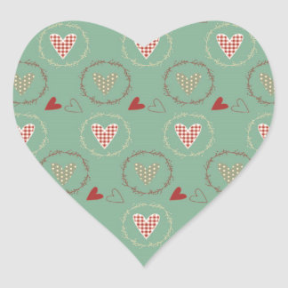 Teal Primitive Country Style Gingham Hearts Heart Sticker