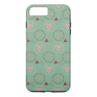 Teal Primitive Country Style Gingham Hearts iPhone 8 Plus/7 Plus Case