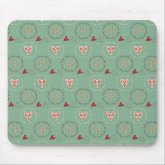 Teal Primitive Country Style Gingham Hearts Mouse Pad