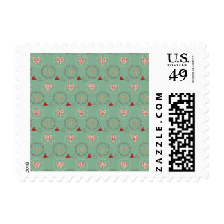 Teal Primitive Country Style Gingham Hearts Postage