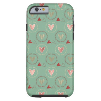 Teal Primitive Country Style Gingham Hearts Tough iPhone 6 Case